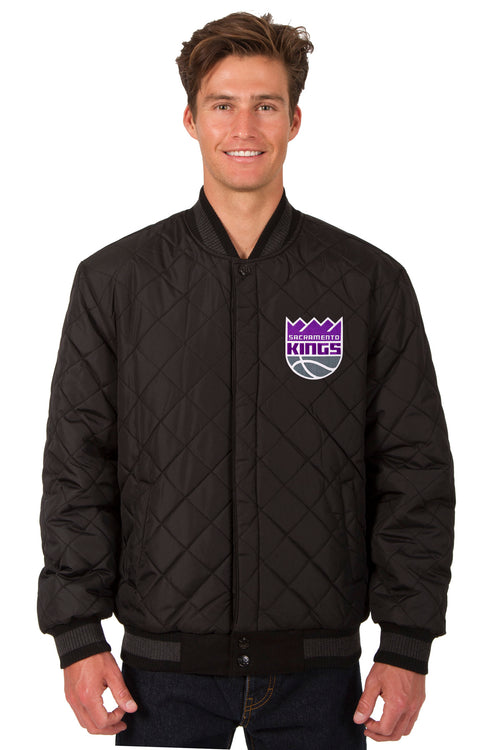 Sacramento Kings Reversible Wool and Leather Jacket (Front Logos Only)