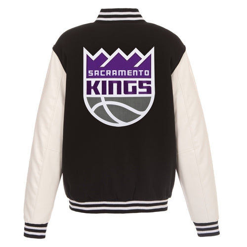 Sacramento Kings Reversible Fleece and Faux Leather Jacket (Front and Back Logos)