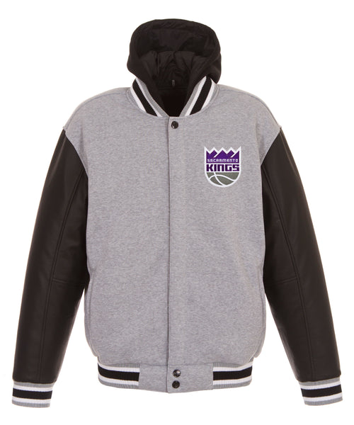 Sacramento Kings Reversible Fleece and Faux Leather Jacket (Front Logos Only)