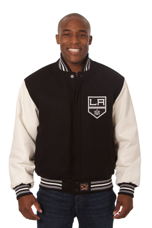 Los Angeles Kings Embroidered Wool and Leather Jacket
