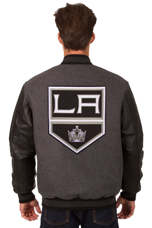 Los Angeles Kings Wool and Leather Reversible Jacket (Front and Back Logos)
