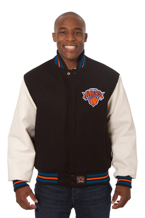 New York Knicks Embroidered Wool and Leather Jacket