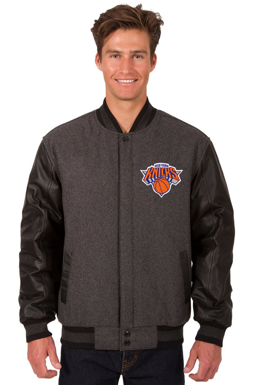 New York Knicks Reversible Wool and Leather Jacket (Front and Back Logos)