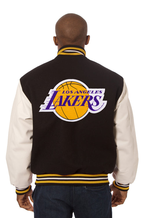 Los Angeles Lakers Embroidered Wool and Leather Jacket
