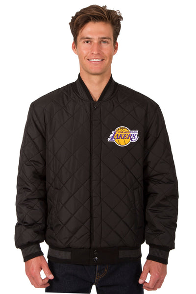 Los Angeles Lakers Reversible Wool and Leather Jacket (Front and Back Logos)