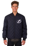 Tampa Bay Lightning Wool and Leather Reversible Jacket (Front Logos Only)