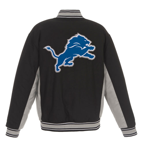 Detroit Lions Reversible Wool Jacket (Front and Back Logos)