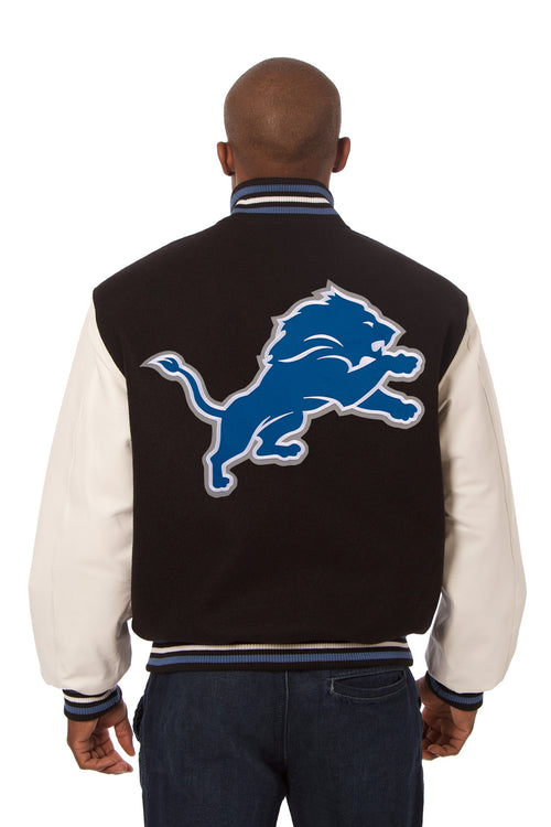 Detroit Lions Embroidered Wool and Leather Jacket