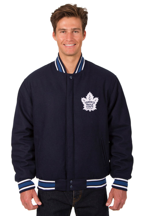 Toronto Maple Leafs All-Wool Reversible Jacket (Front Logo Only)