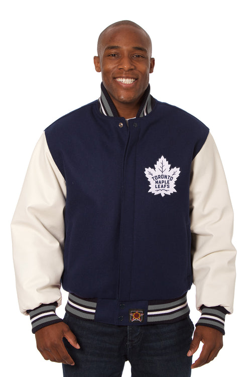 Toronto Maple Leafs Embroidered Wool and Leather Jacket