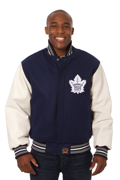 Toronto Maple Leafs Embroidered Wool And Leather Jacket Jh Design Group