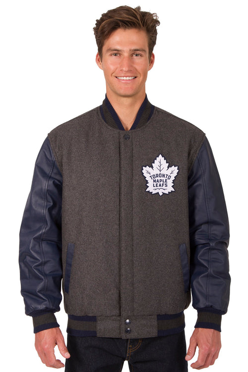 Toronto Maple Leafs Wool and Leather Reversible Jacket (Front and Back Logos)