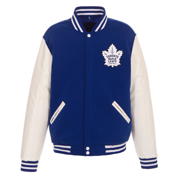 Toronto Maple Leaves Reversible Fleece Jacket With Faux Leather Sleeve Jh Design Group
