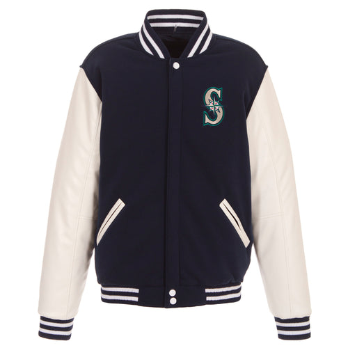 Seattle Mariners Reversible Fleece Jacket with Faux Leather Sleeves