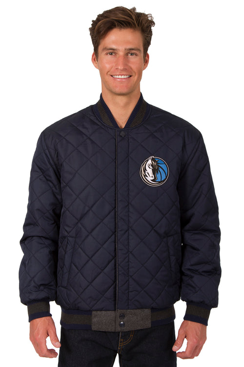 Dallas Mavericks Reversible Wool and Leather Jacket (Front Logos Only)