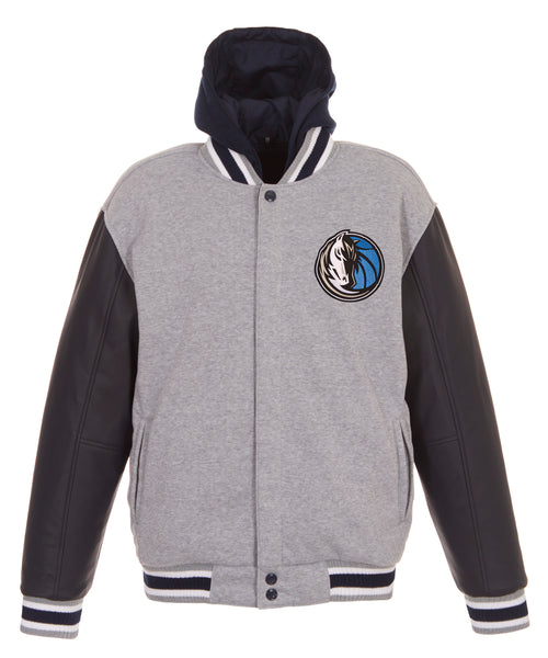 Dallas Mavericks Reversible Fleece and Faux Leather Jacket (Front Logos Only)
