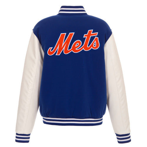 New York Mets Reversible FleeceJacket with Faux Leather Sleeves