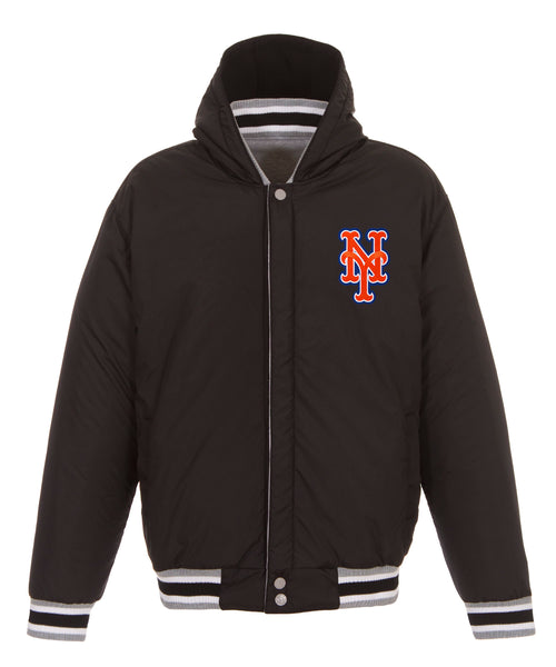 New York Mets Reversible Fleece Jacket with Faux Leather Sleeves
