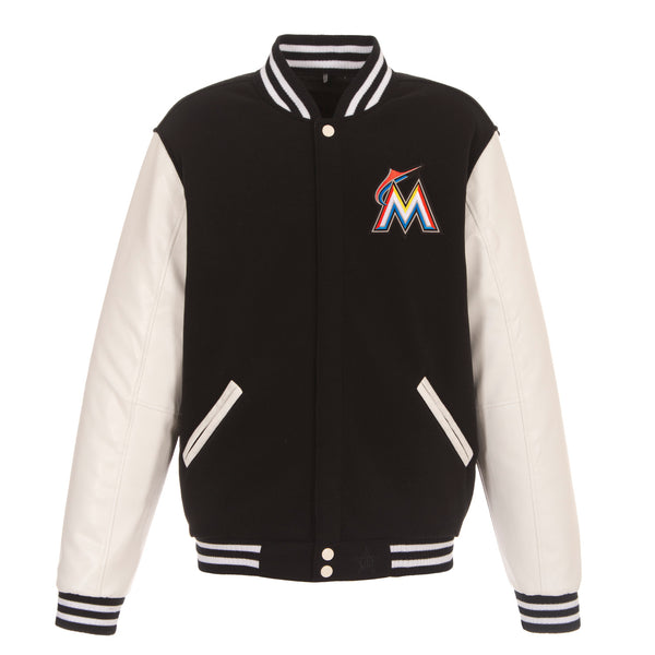Miami Marlins Reversible Fleece and Faux Leather Jacket (Front Logos Only)