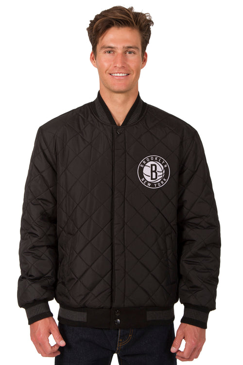 Brooklyn Nets Reversible Wool and Leather Jacket (Front Logos Only)
