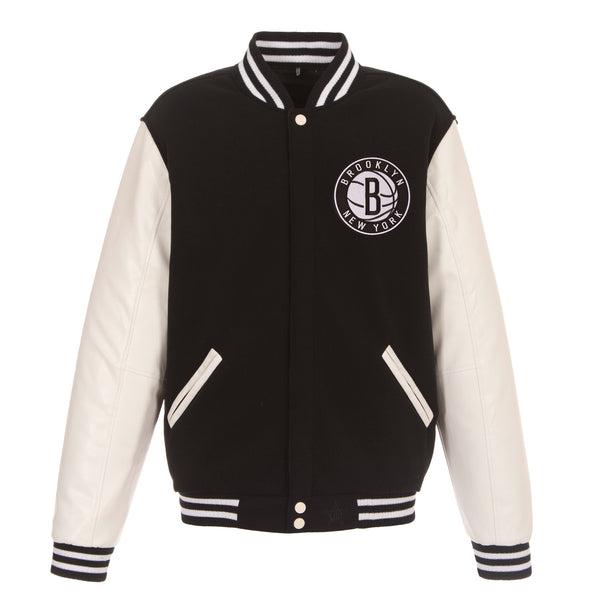 Brooklyn Nets Reversible Fleece and Faux Leather Jacket (Front Logos Only)