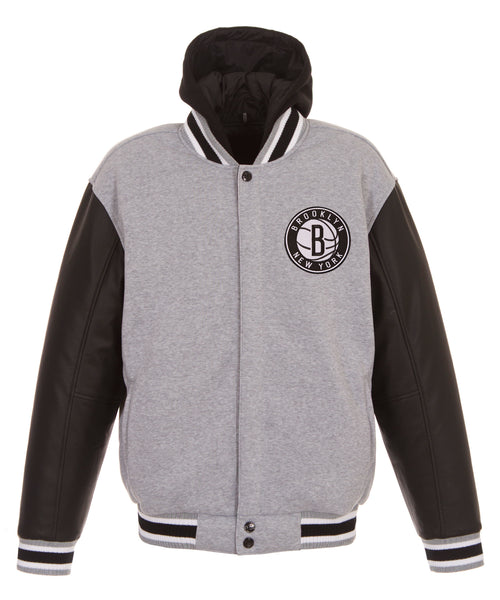 Brooklyn Nets Reversible Fleece and Faux Leather Jacket