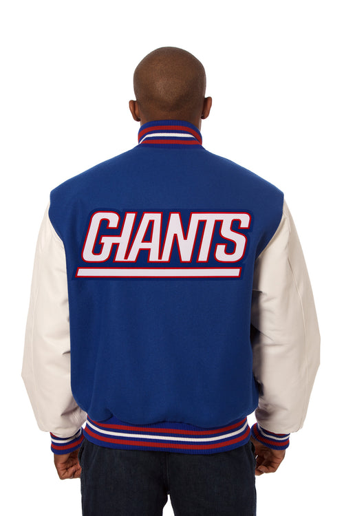 New York Giants Embroidered Wool and Leather Jacket