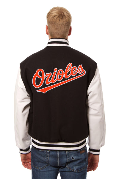 Baltimore Orioles Embroidered Wool and Leather Jacket