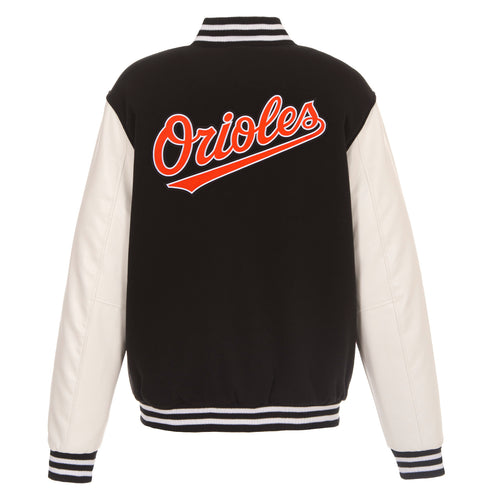 Baltimore Orioles Reversible Fleece Jacket with Faux Leather Sleeves