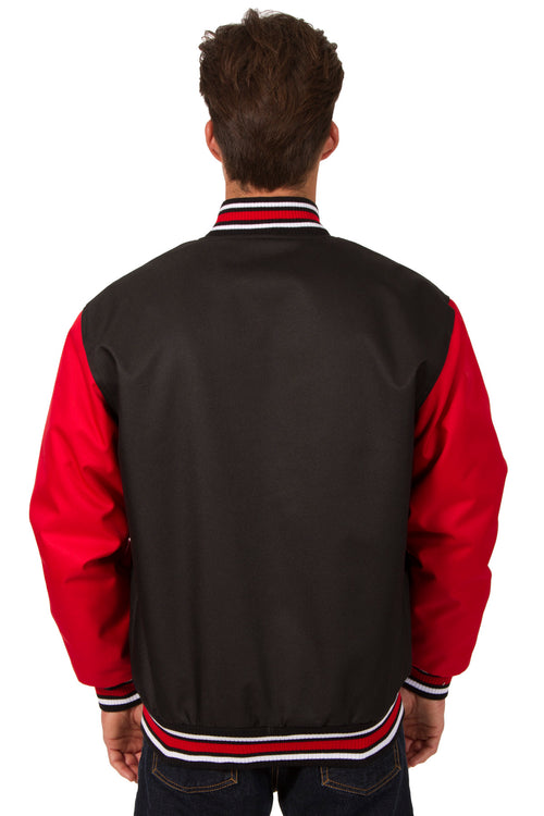 Poly-Twill Jacket in Black-Red