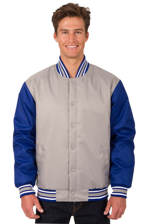 Poly-Twill Jacket in Gray-Royal
