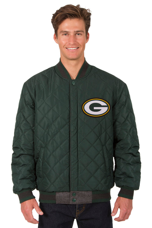 Green Bay Packers Reversible Wool and Leather Jacket