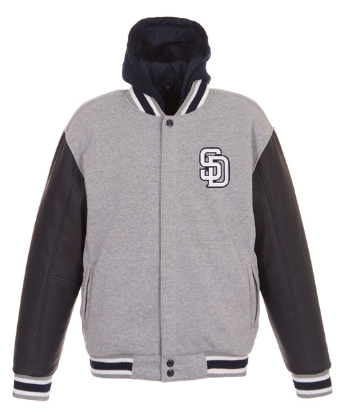 San Diego Padres Reversible Fleece Jacket with Faux Leather Sleeves