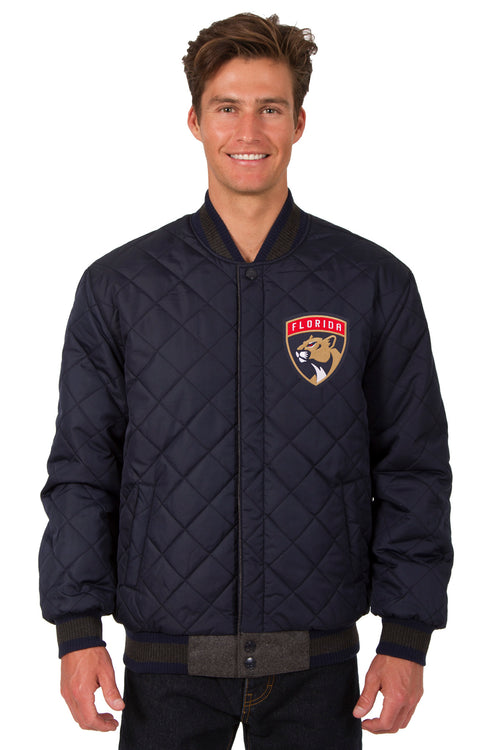 Florida Panthers Wool and Leather Reversible Jacket (Front Logos Only)