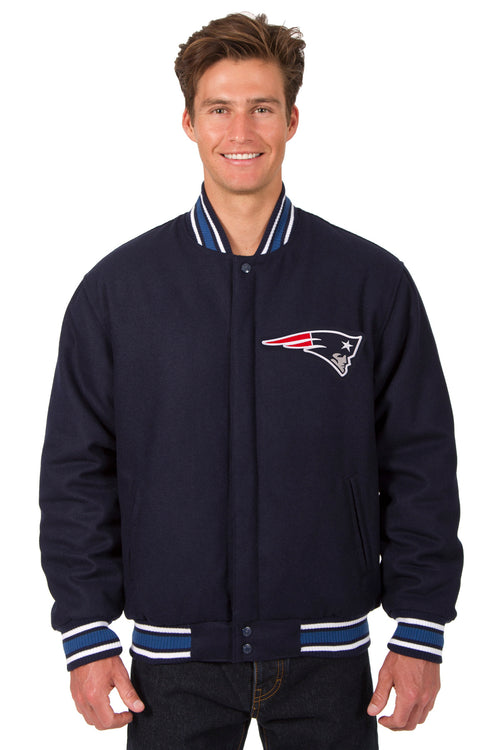 New England Patriots All-Wool Reversible Jacket (Front Logos Only)