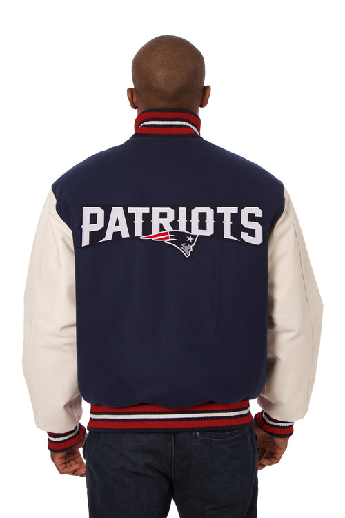 New England Patriots Embroidered Wool and Leather Jacket