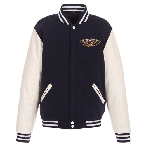 New Orleans Pelicans Reversible Fleece and Faux Leather Jacket (Front Logos Only)