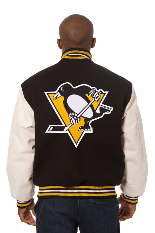 Pittsburgh Penguins Embroidered Wool and Leather Jacket