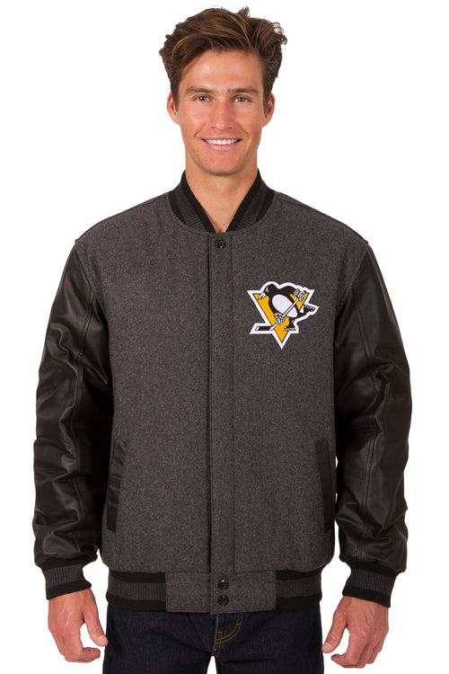 Pittsburgh Penguins Wool and Leather Reversible Jacket (Front and Back Logos)