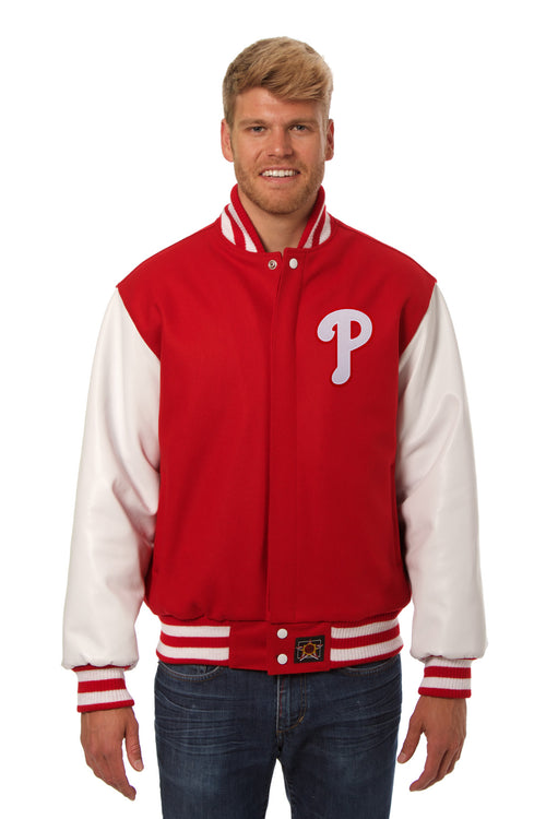 Philadelphia Phillies Embroidered Wool and Leather Jacket