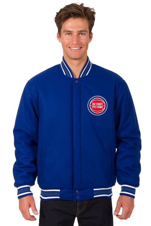 Detroit Pistons Reversible All-Wool Jacket (Front and Back Logos)