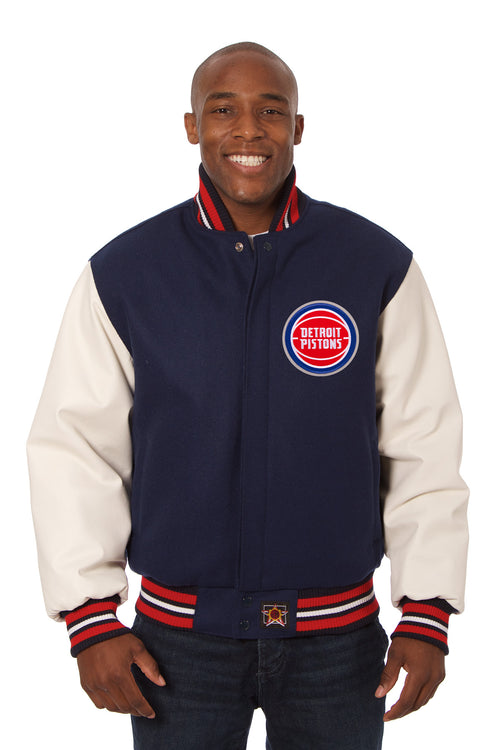Detroit Pistons Embroidered Wool and Leather Jacket