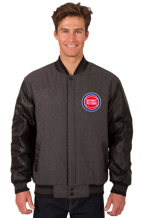 Detroit Pistons Reversible Wool and Leather Jacket (Front and Back Logos)