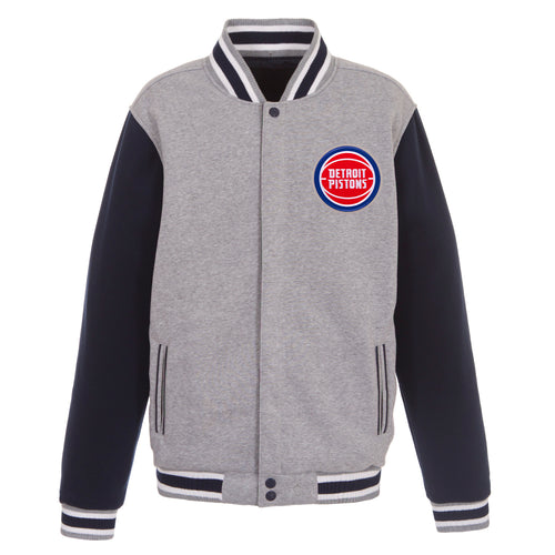 Detroit Pistons Reversible Fleece Jacket (Front and Back Logos)
