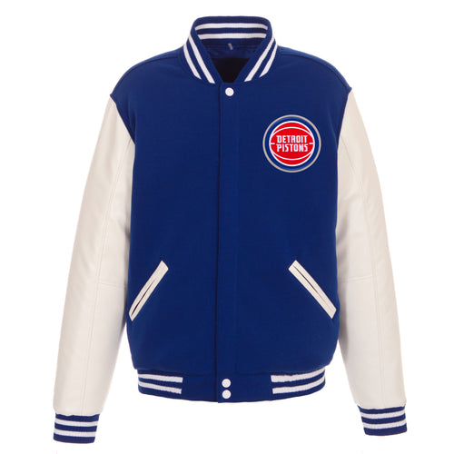 Detroit Pistons Reversible Fleece and Faux Leather Jacket (Front and Back Logos)