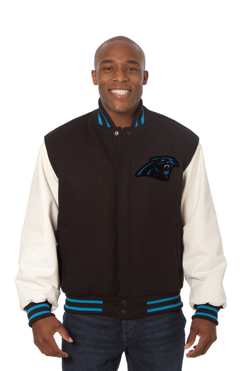 Carolina Panthers Embroidered Wool and Leather Jacket
