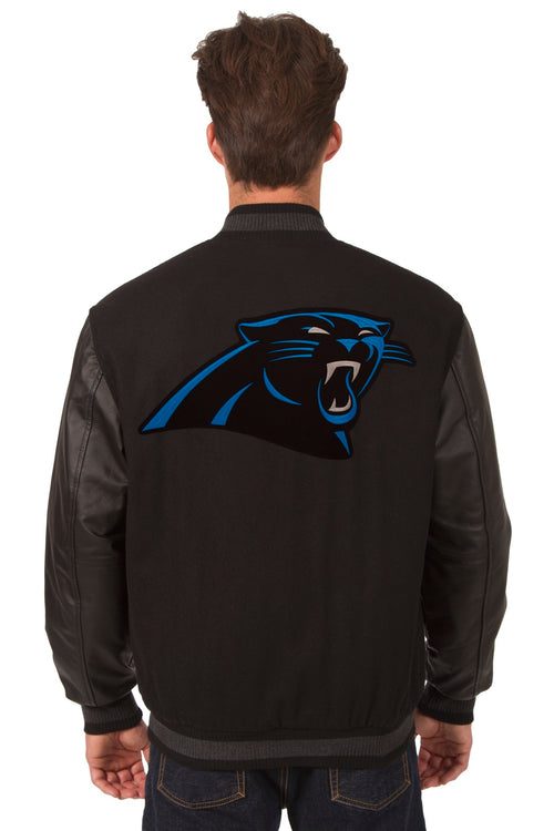 Carolina Panthers Reversible Wool and Leather Jacket (Front and Back Logos)