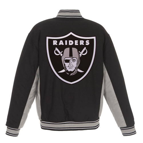 Oakland Raiders Reversible Wool Jacket (Front and Back Logos)