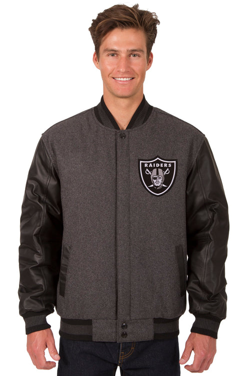 Oakland Raiders Reversible Wool and Leather Jacket (Front and Back Logos)