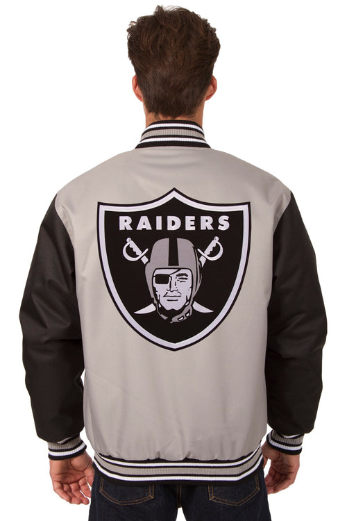Oakland Raiders Poly-Twill Jacket (Front and Back Logo)